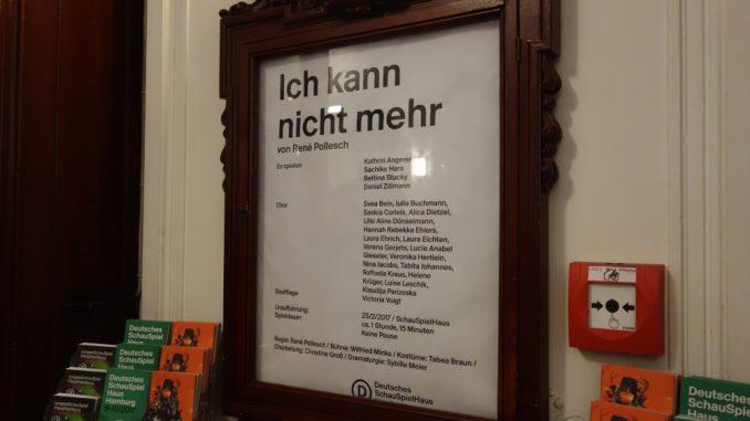 René Pollesch: Ich kann nicht mehr im Deutschen Schauspielhaus Hamburg